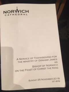 Farewell service for Bishop of Norwich Graham James
